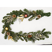 Golden Tipped Ferns and Pine Cones Garland