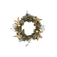 Grandeur Gold Brushed Mixed Tip Christmas Wreath