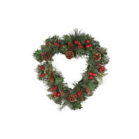 Berries and Pinecone Heart Shaped Christmas Wreath