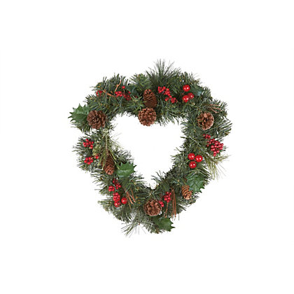 Image for Berries and Pinecone Heart Shaped Christmas Wreath from StoreName
