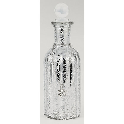 Image for Large Silver Glass Bottle with Snowflake from StoreName