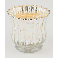 Mercury Ribbed Glass Tealight Holder