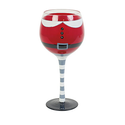 Image for Santa Outfit Wine Glass from StoreName