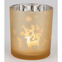 Gold Frosted Tealight Holder Reindeer