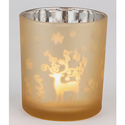 Image for Gold Frosted Tealight Holder Reindeer from StoreName