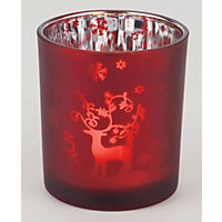 Red Frosted Tealights Holder Reindeer