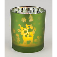 Green Frosted Tealight Holder Reindeer