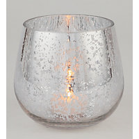 Silver Mercurised Glass Tealight Holder