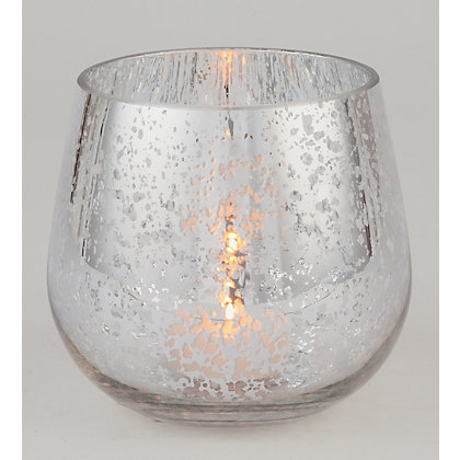 Image for Silver Mercurised Glass Tealight Holder from StoreName