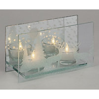 Large Mirror Tealight Holder with Stags