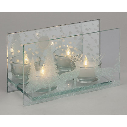 Image for Large Mirror Tealight Holder with Stags from StoreName