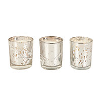 3 Silver Glass Bird Scented Candles