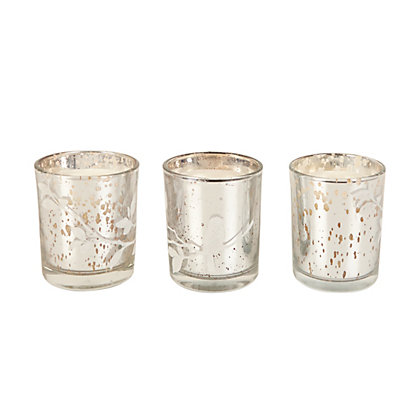 Image for 3 Silver Glass Bird Scented Candles from StoreName