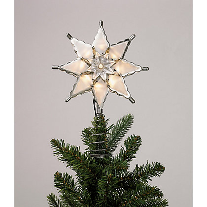 Image for Silver Star Light Up Tree Topper from StoreName