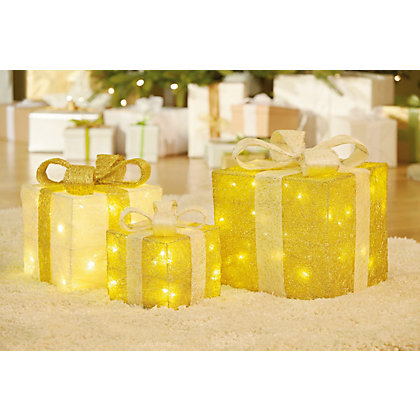 Image for 3 Gold and Cream Light Up Parcels from StoreName