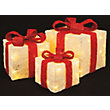 3 Red and Cream Light Up Parcels