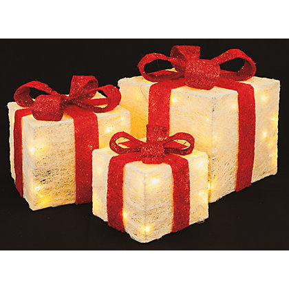 Image for 3 Red and Cream Light Up Parcels from StoreName