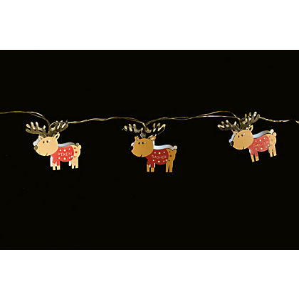 Image for 10 Wooden Reindeer String Lights from StoreName