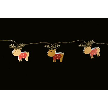 10 Wooden Reindeer String Lights