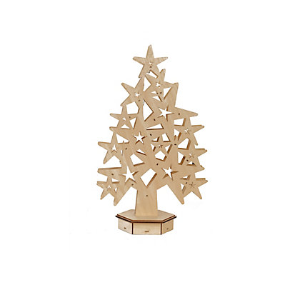 Image for Pre-Lit Wooden Star Tree Light from StoreName