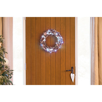 Image for Wooden Wreath with Lights from StoreName
