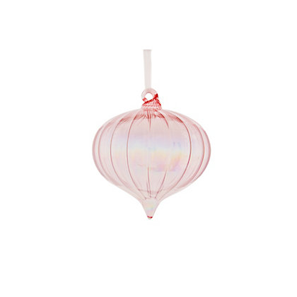 Image for Heirloom Pink Iridescent Onion Glass Bauble from StoreName
