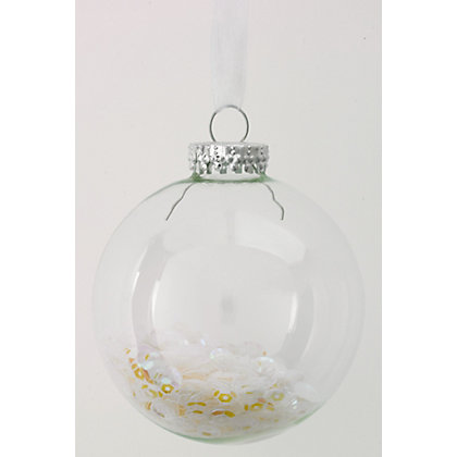 Image for Sequin Filled Clear Glass Bauble from StoreName