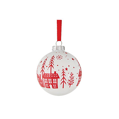 Image for Village Scene White Bauble from StoreName
