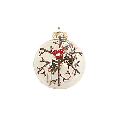 Image for Berry Decorated Snow Filled Glass Bauble from StoreName