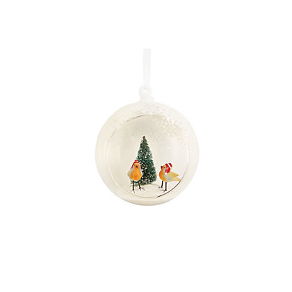 Image for Open Fronted Robins Scene Bauble from StoreName
