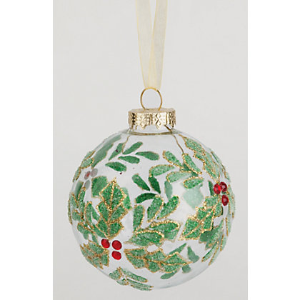 Image for Clear Glass Holly Filled Bauble from StoreName