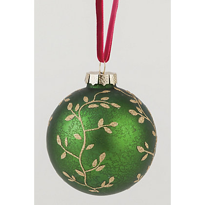 Image for Green and Gold Leaf Bauble from StoreName