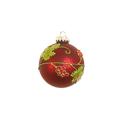 Image for Holly Decorated Glass Bauble from StoreName