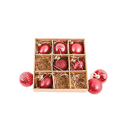 Image for Red Glass Baubles 9 pack from StoreName
