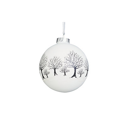 Image for White Handpainted Glitter Trees Bauble from StoreName
