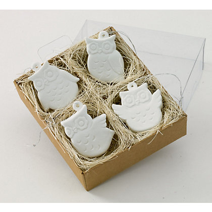 Image for Porcelain Owls Tree Decorations 4 pack from StoreName