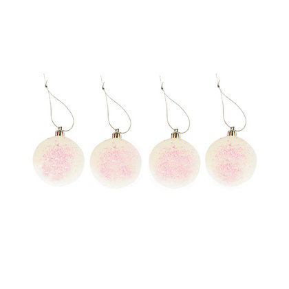 Image for Pink Glitter Baubles 6 pack from StoreName