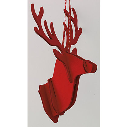 Image for Red Wooden Stag Head Wall Decoration from StoreName