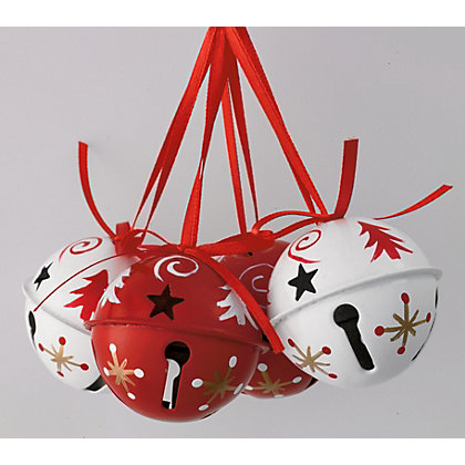 Image for Red and White Handpainted Jingle Bells from StoreName