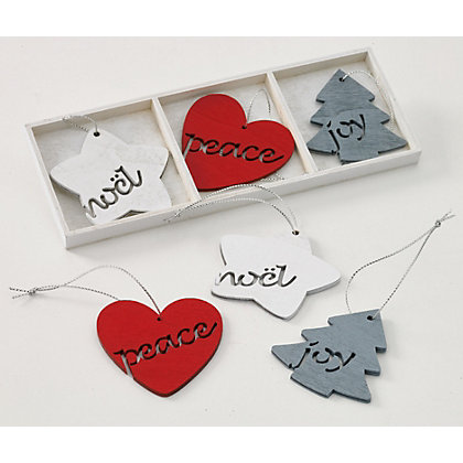 Image for 6 Wooden Star Tree Heart Hanging Decs from StoreName