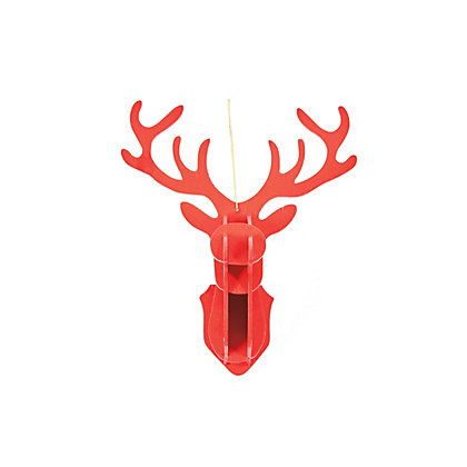 Image for Red Wooden Stag Head Hanging Decoration from StoreName
