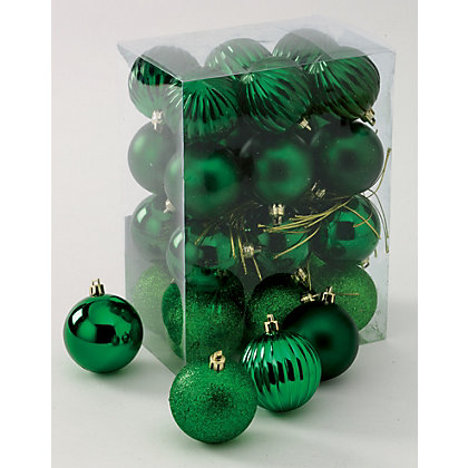 Image for Green Shatterproof Baubles 24 pack from StoreName