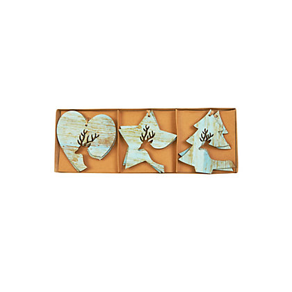 Image for Blue Wooden Decorations 6 pack from StoreName