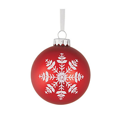 Image for Red Glitter Snowflake Printed Bauble from StoreName