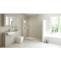 Wetroom Kit with 800mm Straight Glass Panel & 1200mm Tray