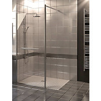 Wetroom Kit with 900mm Straight Glass Panel, 350mm Rotating Pivot Panel & 1800mm Tray