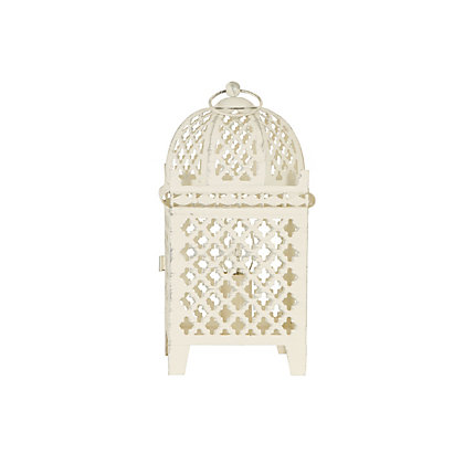 Image for Yasmine White Metal Moroccan Lantern from StoreName