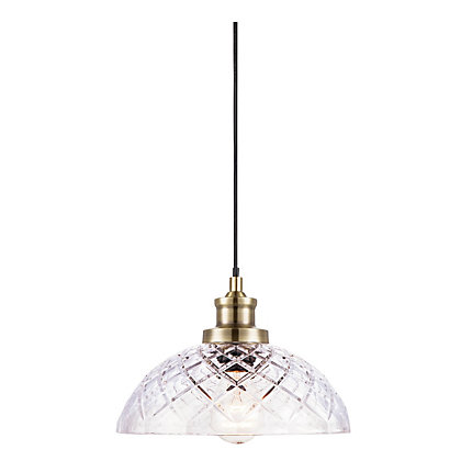 Image for Antique Brass Cut Glass Pendant Light from StoreName