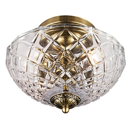 Image for Antique Brass Cut Glass Flush Ceiling Light from StoreName