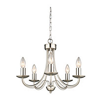 Twisted Arm 5 Lamp Brushed Chrome Chandelier